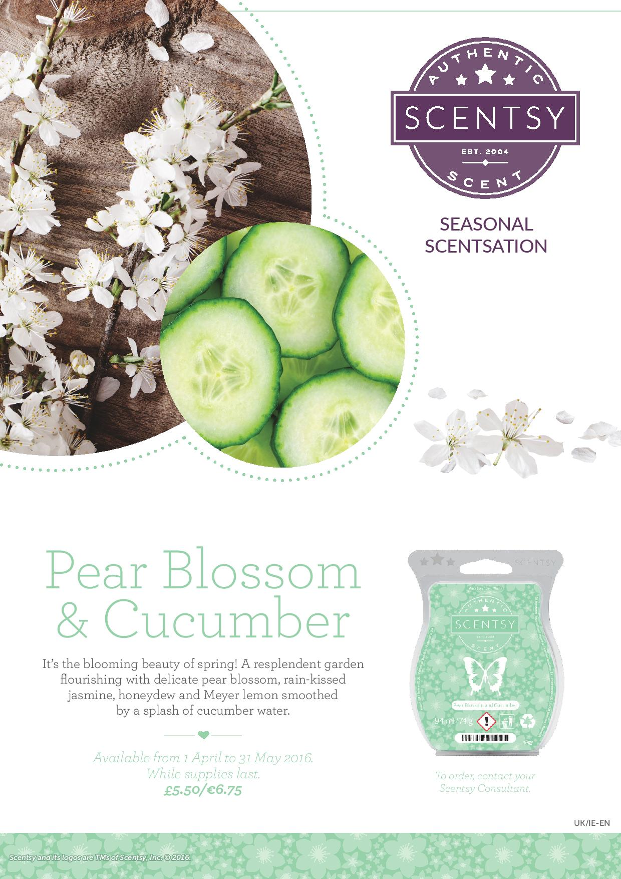Scentsy UK Pear Blossom & Cucumber Scented Wax