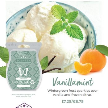 Vanillamint will be available in Scentsy Bars starting 1 April 2018, while supplies last.