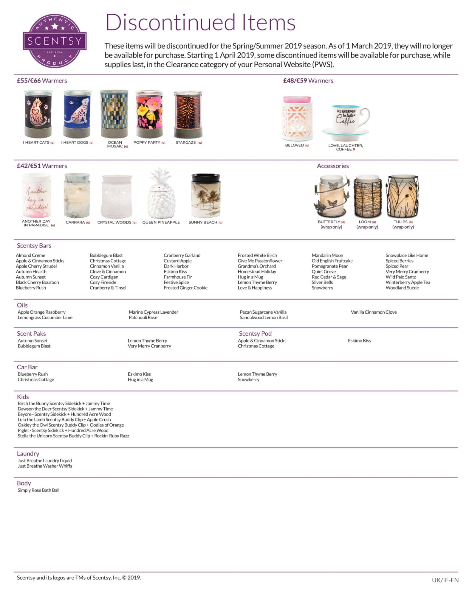 Scentsy Discontinued List 2019