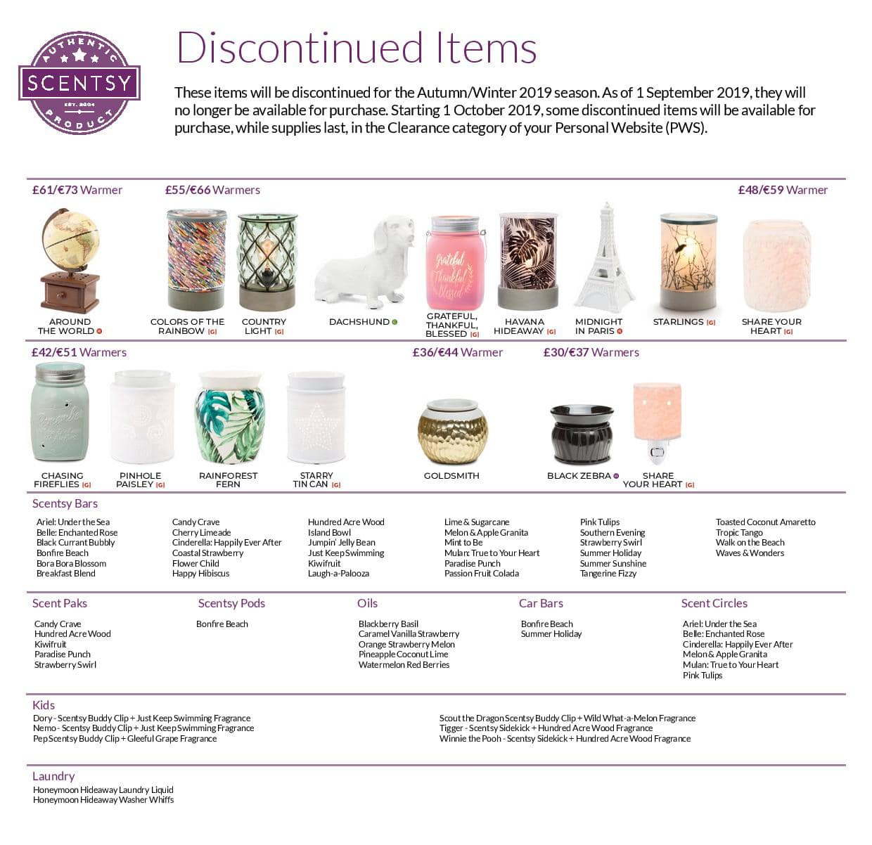Scentsy Discontinued Items 2019 Autumn Winter