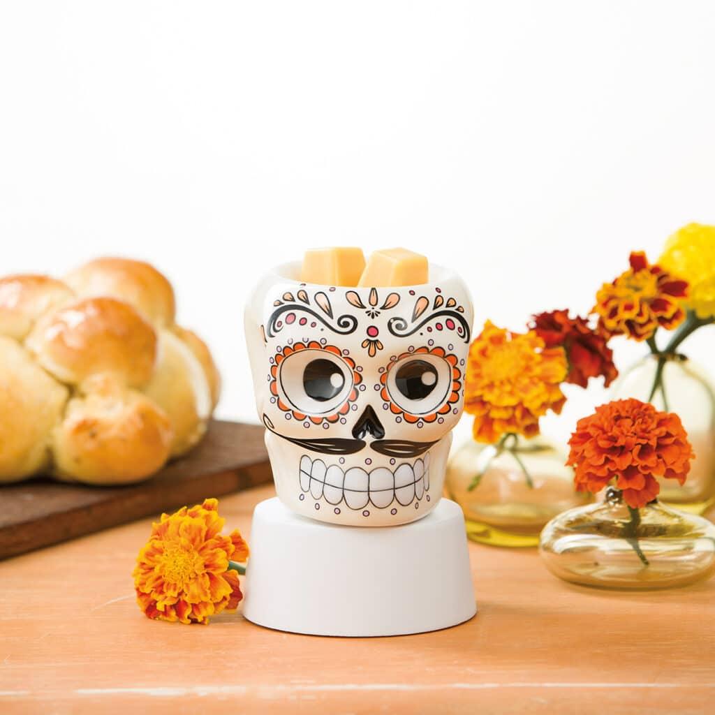 Sugar Skull Mini Warmer with Tabletop Base