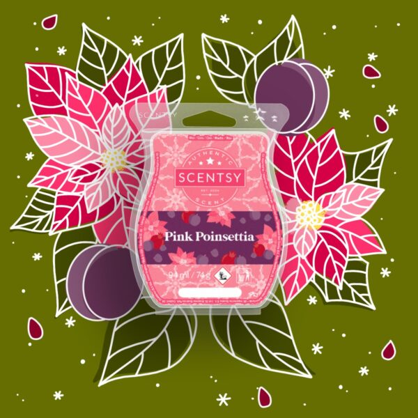 Pink Poinsettia Home for the Holidays 2021 Scentsy Wax Collection