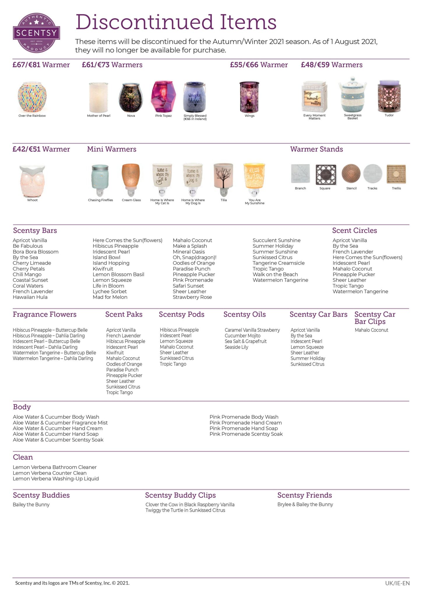 Scentsy Autumn Winter 2021 Discontinued List